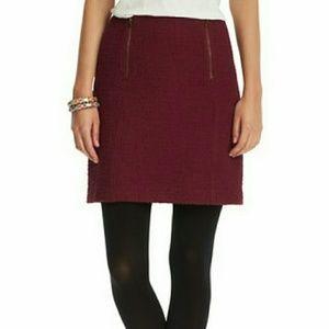 LOFT Burgundy Tweed Mini Skirt